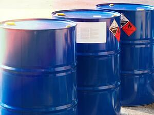 blue chemical storage drums