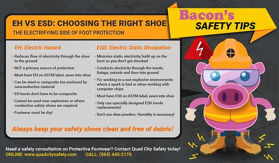 Bacon's Safety Tips EH vs ESD: Choosing the right shoe.