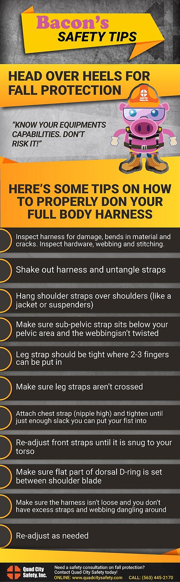 Bacon's Safety Tips Head over heels for fall protection.