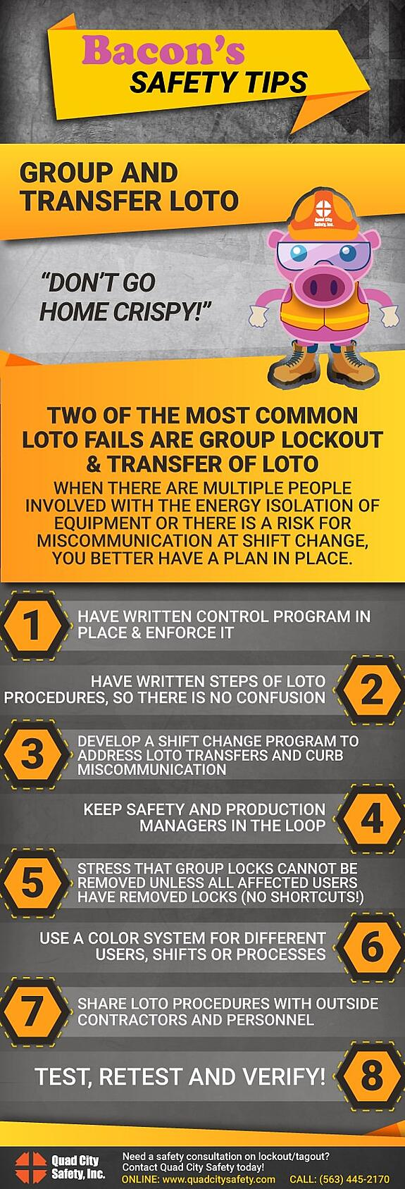 Bacon's Safety Tips Group and Transfer LOTO.