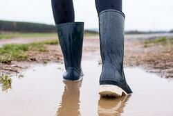 wet boots in puddle